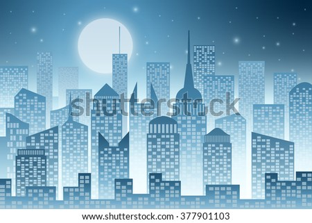 A Cityscape with Skyscrapers, Night Sky  and Moon