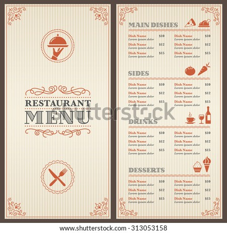 A Classic Restaurant Menu Template with nice Icons in an Elegant Style - stock vector