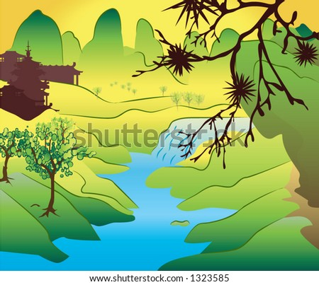 a classical Japanese scene - stock vector