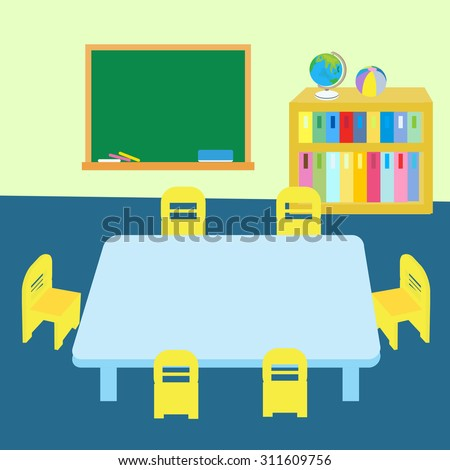 Classroom Table And Chairs classroom table chairs stock vector 311609756 - shutterstock
