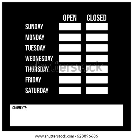 Clean Black White Store Schedule Template Stock Vector - Store schedule template