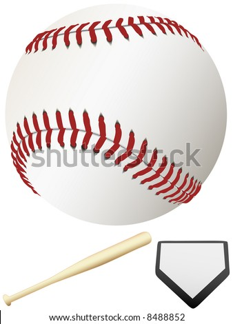 A clean, white major league baseball, ready for spring training & to throw out the first pitch of the season. Home Plate & Bat. - stock vector