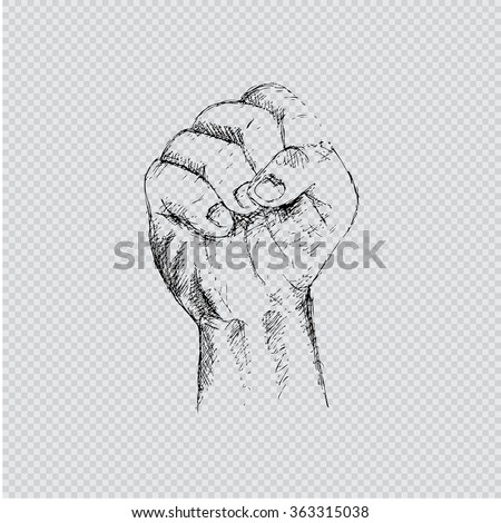 A clenched fist. Hand Drawing illustration.