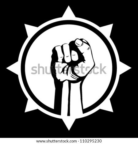 A clenched fist held high in protest - stock vector