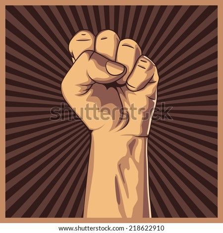 A clenched fist held high in protest background. Vector illustration. - stock vector