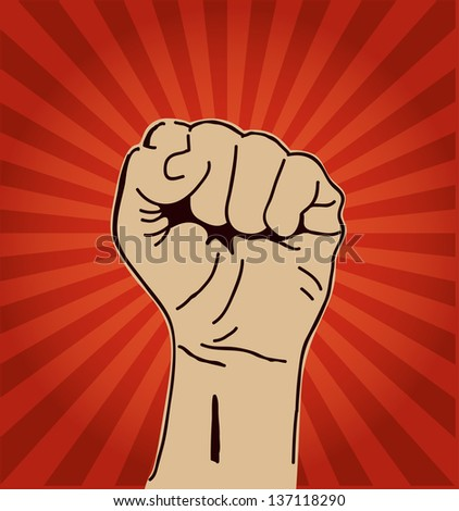 A clenched fist held high in protest or solidarity. - stock vector