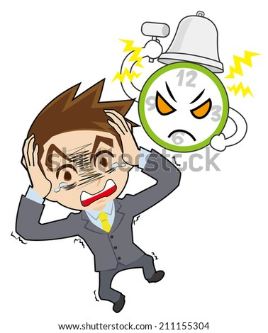 A clock , and businessman who is astonished - stock vector