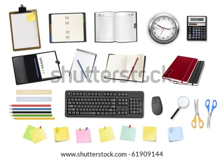 A clock, calculator, notebooks and some office supplies. Vector. - stock vector