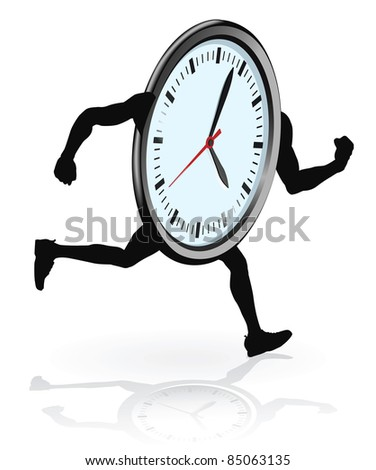 A clock character running. Concept for running out of time or work life balance. - stock vector