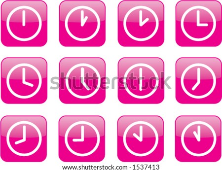 A clock for every hour. - stock vector