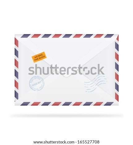A closed envelope with stamps on white background. Vector illustration. Realistic. Air mail. - stock vector