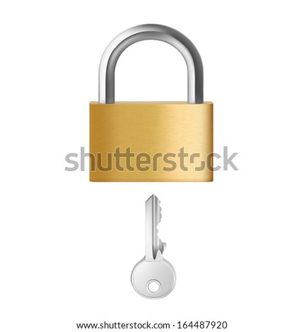 A closed padlock with key on white background. Vector illustration. Realistic. - stock vector