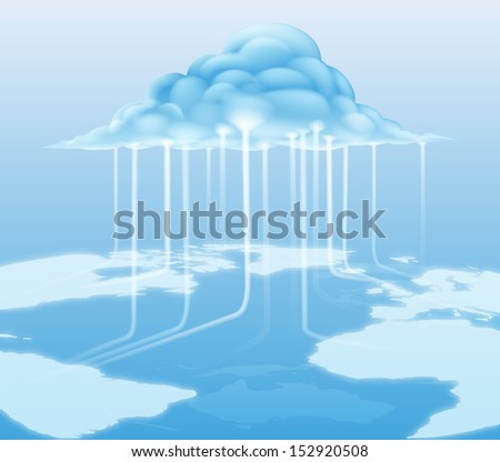 A cloud computing internet concept with information flowing to and from the cloud - stock vector