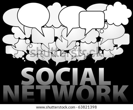 A cloud of SOCIAL NETWORK media speech and thought bubbles as symbol of communication - stock vector