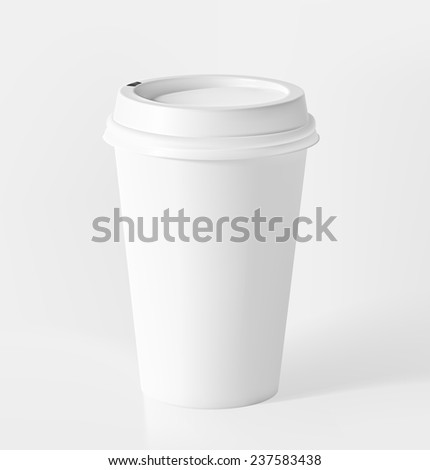 A coffee cup or tea on gray background. Vector illustration. Realistic - stock vector