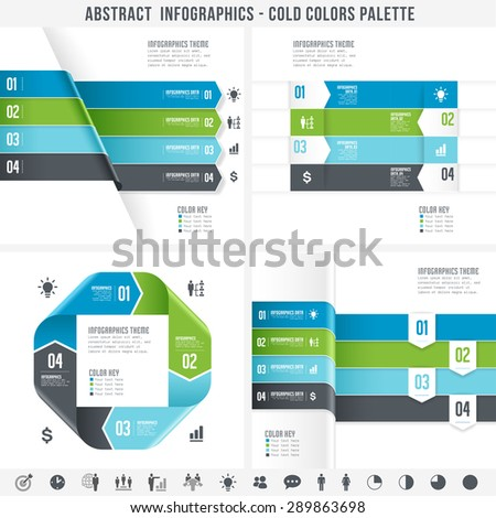 A Cold colored set for abstract overlapping infographics banners.  - stock vector