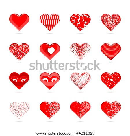 A Collection of a Heart Shapes. Vector Illustration. - stock vector