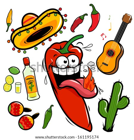 A collection of a mariachi cartoon and Mexican themed illustrations: A guitar, tequila, lime, cactus, chili peppers and maracas. - stock vector