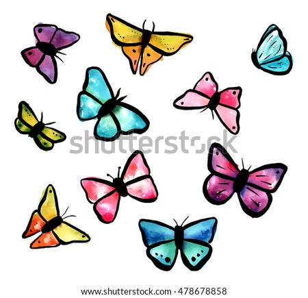 A collection of abstract freehand watercolour butterflies (teal blue, pink, purple, and yellow), scalable vector drawings