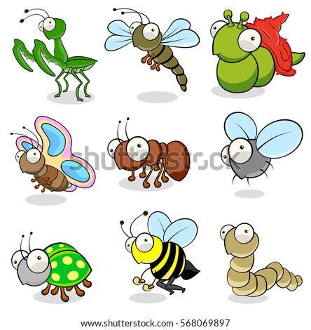 A collection of  animals and insects cartoon drawings