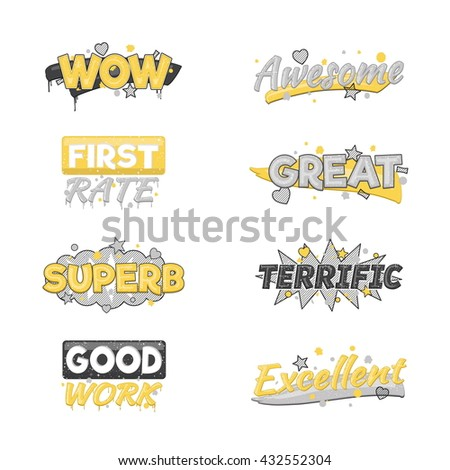 A collection of artistic encouragement achievement badge stickers to praise good work and perfect results. Can be used for educational purposes and just for fun. - stock vector