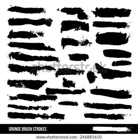 A collection of black grungy abstract hand-painted brush strokes. vector file - stock vector