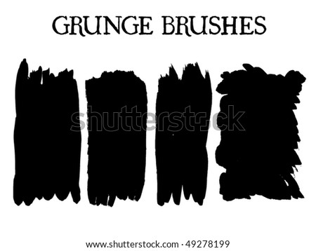 A collection of 4 brush strokes. You'll find more design elements in my portfolio! - stock vector