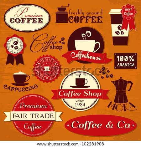 A collection of coffee design elements in retro style. - stock vector