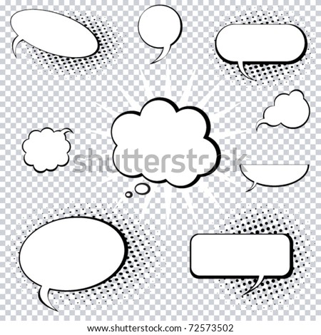 A collection of comic style speech and thought bubbles - stock vector