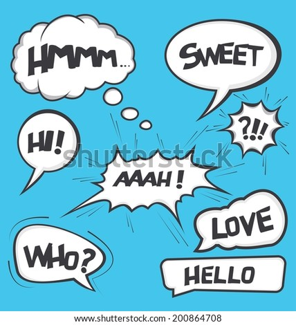 A collection of comic style speech bubbles - stock vector