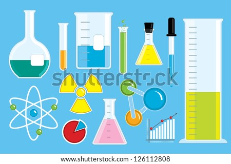 A collection of cute vector science icons. - stock vector