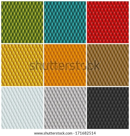 A collection of 9 different colored reptile skin backgrounds. Seamlessly repeatable. Eps 10 Vector. - stock vector