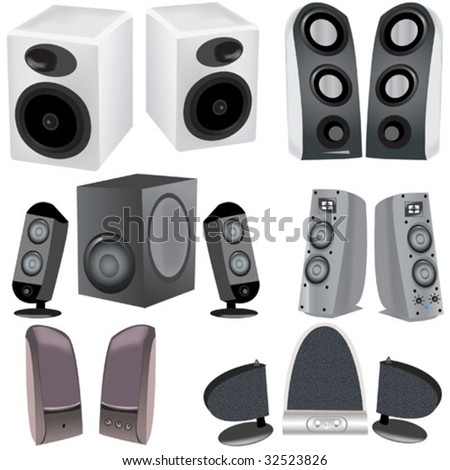 A collection of 6 different computer speakers vector illustration image