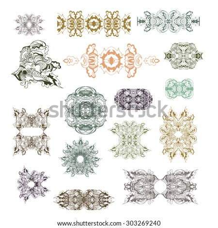 A collection of different  elements, frames, dividers and borders, vector illustration - stock vector