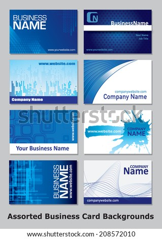 A collection of eight individual business cards in blue