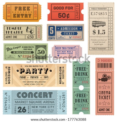 A collection of eleven vector grunted Tickets, Vector file is organized with layers, with every ticket divided into 3 layers, separating Background Shape from the texture effect and text.  - stock vector