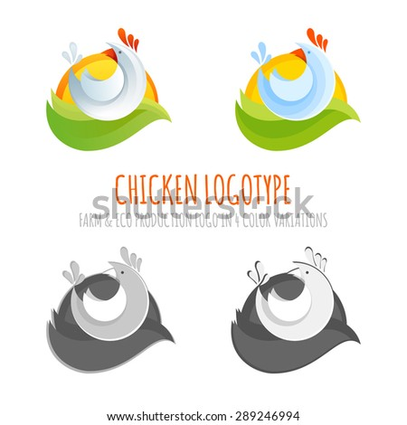 A collection of farm chicken icons for eco products, colorful set of stylized cartoon logo illustrations - stock vector