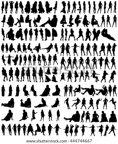 A Collection of Female Silhouettes on White Background