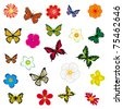 A collection of flowers and butterflies. Vector illustration - stock vector