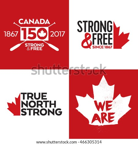 A collection of four Canadian vector icons featuring a maple leaf.
