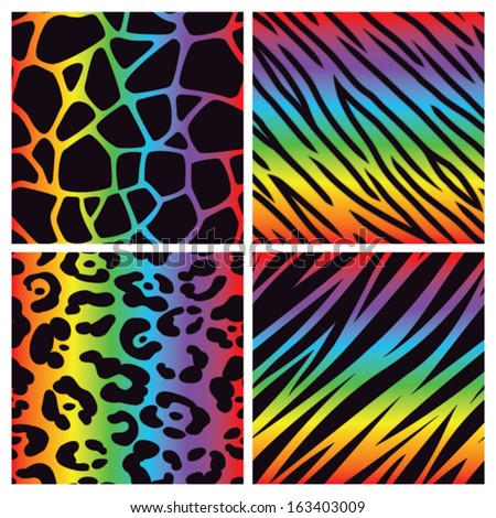 Collection Four Different Rainbow Colored Animal Stock Vector ...