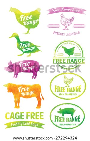A collection of free range and organic labels in watercolor . All labels are grouped. EPS 8 - stock vector