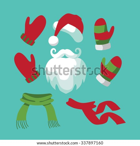 A collection of fun santa hat, mustache, beard, scarves and mittens. Flat design. EPS 10 vector - stock vector