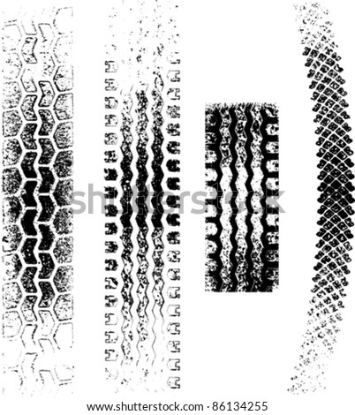 A collection of 4 Grunge tire tracks, negative and positive - stock vector