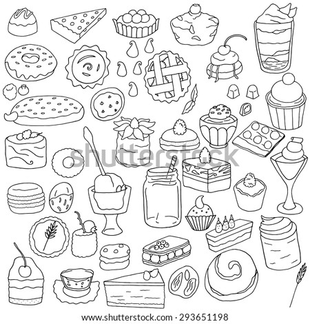 A collection of hand drawn dessert drawings.