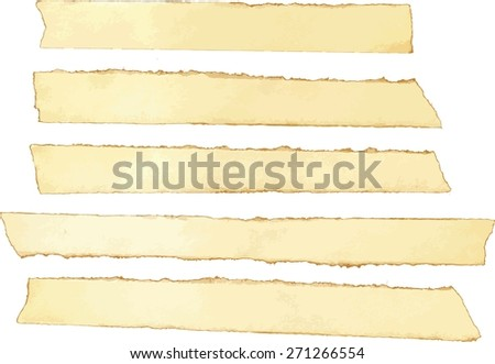A collection of isolated torn pieces of old yellow paper, scalable vector drawing - stock vector