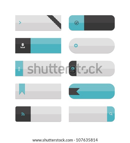 A collection of large web buttons, with plenty of space for text! Flat color, no gradients, global swatches used. - stock vector