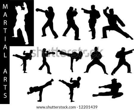 A collection of Martial Art silhouettes - Check out my portfolio for other collections.