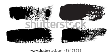 A collection of 4 natural brush strokes - stock vector