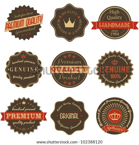 A collection of nine premium quality labels in vintage style isolated on white. - stock vector